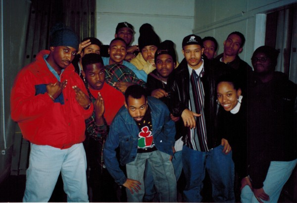 The Dirty Dozen members and friends at WNWK during the early '90s.